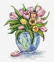 """Вышивка крестом """"Нежные цветы"""" (150х180 мм)"""