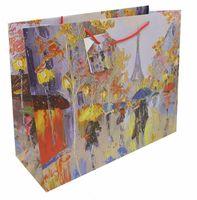 """Пакет бумажный подарочный """"Дождь в Париже"""" (40,6х33х16 см; арт. 40897)"""