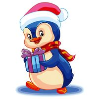 "Картина по номерам ""Пингвин с подарком"" (300х400 мм)"