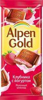 """Шоколад молочный """"Alpen Gold. Клубника с йогуртом"""" (90 г)"""