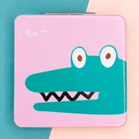 "Зеркало карманное ""Big square Crocodile"" (розовый)"