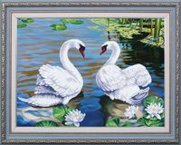 """Вышивка бисером """"Озеро надежды. Лебеди"""""""