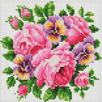 """Алмазная вышивка-мозаика """"Розы и анютины глазки"""" (200х200 мм)"""