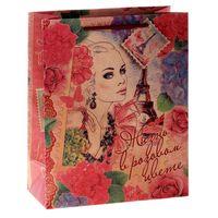 "Пакет бумажный подарочный ""Девушка винтаж"" (14х18,5х10 см)"