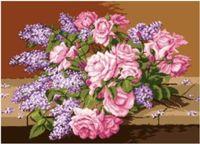 """Канва с нанесенным рисунком """"Розы и сирень"""""""