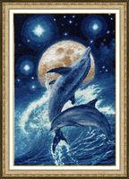 """Вышивка крестом """"Дельфины"""" (352х229 мм)"""