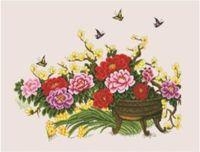 """Канва с нанесенным рисунком """"Цветы и бабочки"""""""