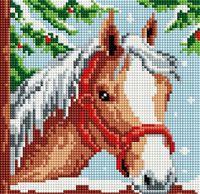 """Алмазная вышивка-мозаика """"Белогривая лошадка"""" (200х200 мм)"""