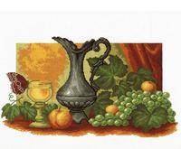 """Вышивка крестом """"Натюрморт с виноградом"""" (400x230 мм)"""