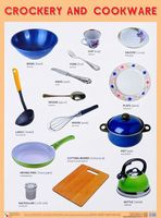 Crockery and cookware. Плакат
