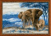 "Вышивка крестом ""Слоны в саванне"" (300х400 мм)"