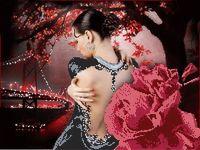 """Канва с нанесенным рисунком """"Ночное танго"""""""