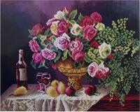 """Алмазная вышивка-мозаика """"Натюрморт с розами"""" (400х500 мм)"""