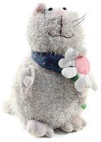"""Мягкая игрушка """"Кот серый с цветком"""" (23 см)"""