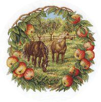 """Вышивка крестом """"Кони в яблоках"""" (270х270 мм)"""