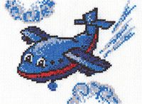 """Вышивка крестом """"Веселый самолетик"""""""