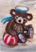"""Картина из шерсти """"Мишка морячок"""""""
