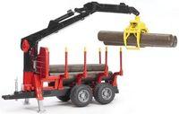 """Модель машины """"Bruder. Прицеп для перевозки леса с манипулятором и бревнами"""" (масштаб: 1/16)"""