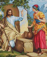 """Вышивка крестом """"Иисус и самаритянка"""" (375х450 мм)"""