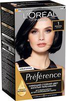 """Краска для волос """"Preference"""" тон: 1.0, черный"""