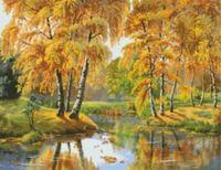 """Канва с нанесенным рисунком """"Золотая  осень"""""""