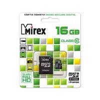 Карта памяти microSDHC 16GB Mirex (с адаптером)