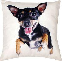 """Подушка """"Собака в прыжке"""" (35x35 см; белая)"""