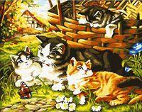 """Картина по номерам """"Кошки и лукошко"""" (400х500 мм)"""