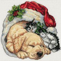 """Вышивка крестом """"Щенок и котенок рождественским утром"""" (арт. DMS-08826)"""