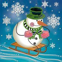 """Алмазная вышивка-мозаика """"Снеговик на санках"""""""