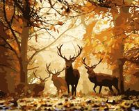 "Картина по номерам ""Олени в лесу"" (400х500 мм)"