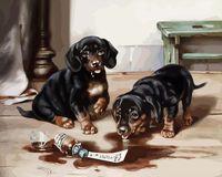 """Картина по номерам """"Два щенка"""" (400х500 мм)"""