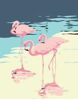 "Картина по номерам ""Три фламинго"" (165х130 мм)"