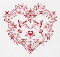 """Вышивка крестом """"Сердце с голубями"""""""