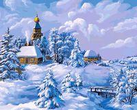 """Картина по номерам """"Зима в деревне"""" (400х500 мм)"""