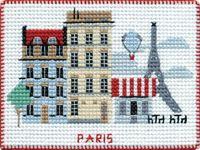 """Вышивка крестом """"Париж"""" (90х70 мм; на магните)"""