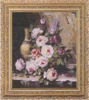 """Вышивка крестом """"Мраморные розы"""" (340х300 мм)"""