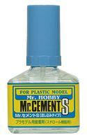 Клей для моделей Mr. Cement S с тонкой кисточкой (сверхтекучий, арт. MC-129)