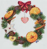 """Вышивка крестом """"Венок с апельсином и корицей"""" (270х270 мм)"""