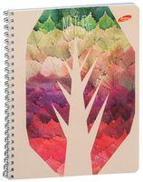 """Тетрадь в клетку """"Стилизованные деревья"""" 48 листов"""