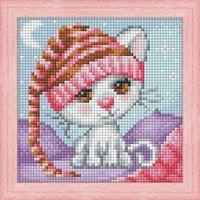 "Алмазная вышивка-мозаика ""Сонный котёнок"" (150х150 мм)"