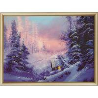 """Алмазная вышивка-мозаика """"Домик в зимнем лесу"""""""