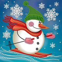 """Алмазная вышивка-мозаика """"Снеговик лыжник"""""""
