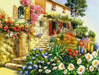 "Канва с нанесенным рисунком ""Цветы у дома"""