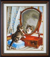 "Вышивка крестом ""Котёнок и зеркало"" (280х340 мм)"