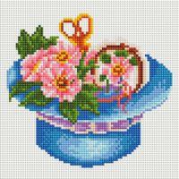 """Алмазная вышивка-мозаика """"Шляпка с цветами"""" (200х200 мм)"""