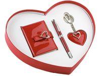 Набор. Записная книжка, ручка, брелок (в коробке в форме сердца)