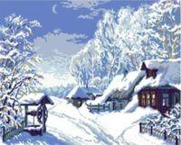 """Канва с нанесенным рисунком """"Зимний пейзаж"""""""