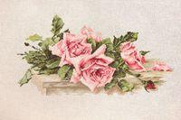 """Вышивка крестом """"Розовые розы"""" (320х170 мм)"""