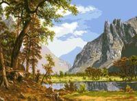 """Канва с нанесенным рисунком """"Река в горах"""""""